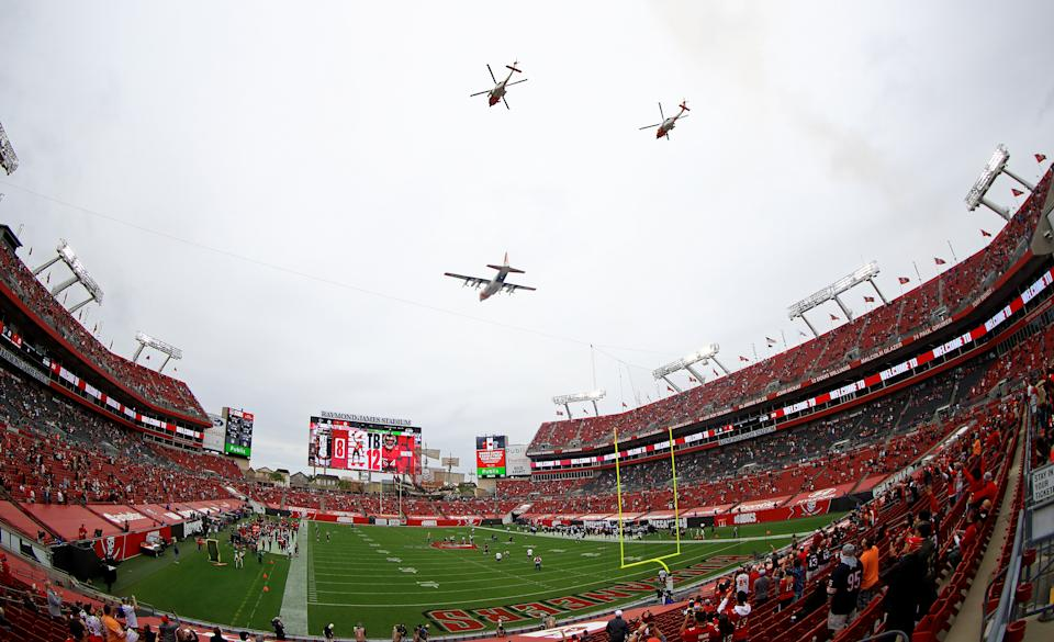 There will be fans at Super Bowl LV at Raymond James Stadium in a few weeks, including vaccinated healthcare workers who get in for free. (Photo by Mike Ehrmann/Getty Images)