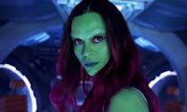 """<p>Gamora """"died"""" in <em>Infinity War</em> but in an interview, Saldana said she would be back to finish up """"the fourth instalment of Avengers"""" suggesting that she does return from the dead.<br>Many believe she is trapped inside the Soul Stone that Thanos killed her for in order to claim it. </p>"""