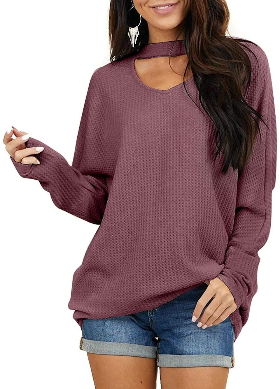 <p>The neck detail of this <span>Samefar Oversized Waffle Knit Sweater</span> ($10-$19) looks like you're wearing a matching choker.</p>
