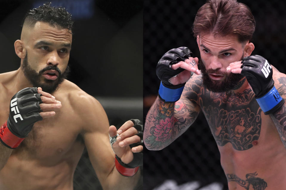 (L-R) Rob Font and Cody Garbrandt are even money (-110) at BetMGM heading into Saturday's main event matchup at UFC Vegas 27. (AP Photo/Getty Images)