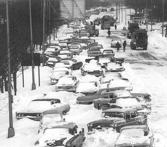 Chicago's Lakeshore Drive was clogged with stranded cars in the wake of the city's record-setting blizzard on January 26 to 27, 1967. Forecasts at the time struggled to predict such events.