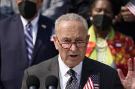 Senate Majority Leader Chuck Schumer, D-N.Y., speaks during a Sept. 11 remembrance ceremony, at the Capitol in Washington, Monday, Sept. 13, 2021. (AP Photo/J. Scott Applewhite)