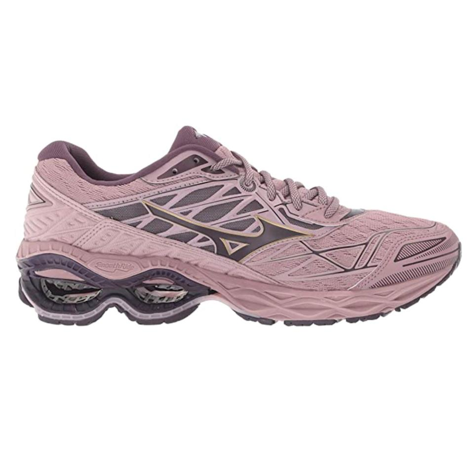 """<p><strong>Mizuno</strong></p><p>amazon.com</p><p><strong>$169.95</strong></p><p><a href=""""https://www.amazon.com/dp/B07CKGVK1T?tag=syn-yahoo-20&ascsubtag=%5Bartid%7C2142.g.36448024%5Bsrc%7Cyahoo-us"""" rel=""""nofollow noopener"""" target=""""_blank"""" data-ylk=""""slk:Shop Now"""" class=""""link rapid-noclick-resp"""">Shop Now</a></p><p>The 20th version of the popular Wave Creation shoe comes with an all-new Infinity Wave detail. The outcome is a pair of kicks softer, bouncier, and more responsive to your motions than ever before.</p>"""