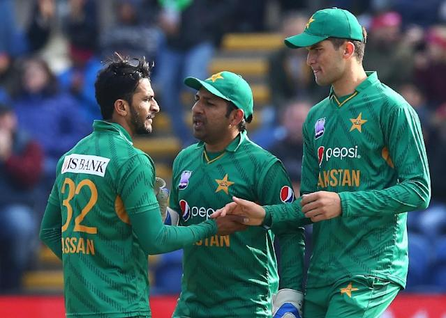 Sarfraz Ahmed (centre) will captain a young Pakistan side at the 2019 Cricket World Cup (AFP Photo/GEOFF CADDICK)