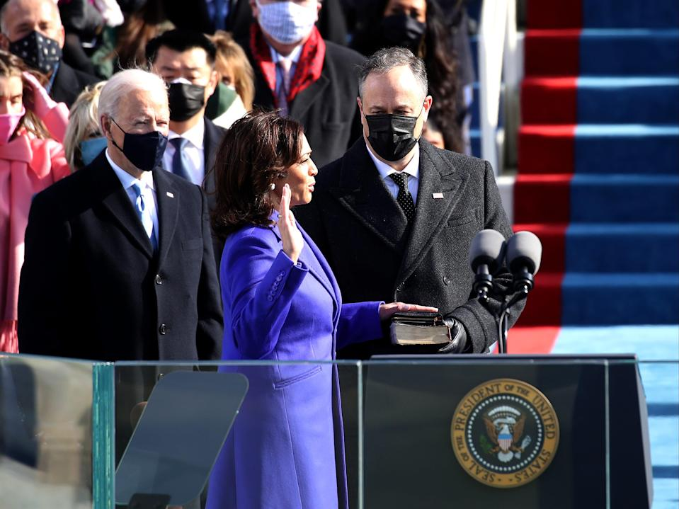 Kamala Harris is sworn in as US Vice President with her husband Doug Emhoff and President Joe Biden looking onGetty Images
