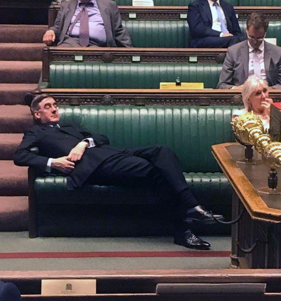 PHOTO: Britain's Leader of the House of Commons Jacob Rees-Mogg relaxing on the front benches during the Standing Order 24 emergency debate on a no-deal Brexit in the House of Commons in London, Sept. 3, 2019. (Ho/AFP/Getty Images)