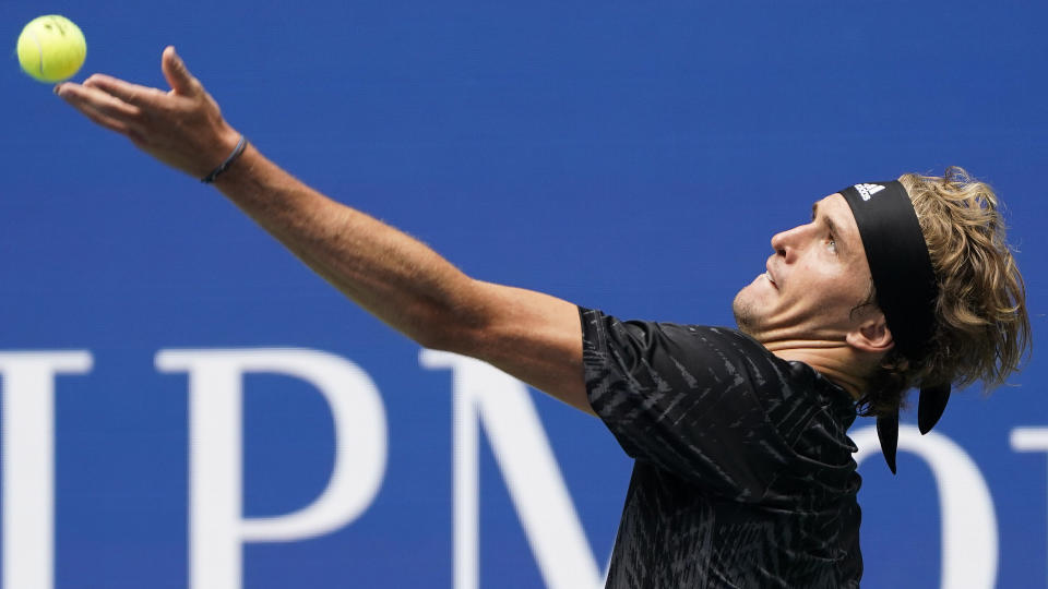Alexander Zverev, of Germany, serves to Sam Querrey, of the United States, during the first round of the US Open tennis championships, Tuesday, Aug. 31, 2021, in New York. (AP Photo/John Minchillo)