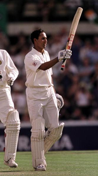 4 Jan 2000:  VVS Laxman of India celebrates his century during the third days play of the Third Test Match between Australia and India at the Sydney Cricket Ground, Sydney, Australia. Australia won by an innings and 141 runs. Mandatory Credit: Adam Pretty/ALLSPORT