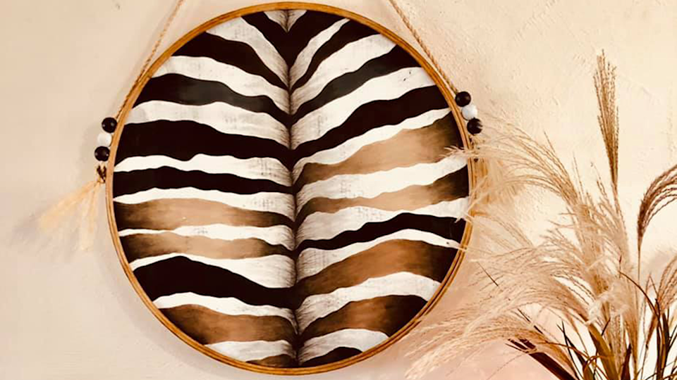 Image of mirror with Zebra Butt style Kmart Hack DIY