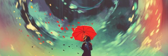 digital illustration of woman with red umbrella and swirling ring of colour in sky