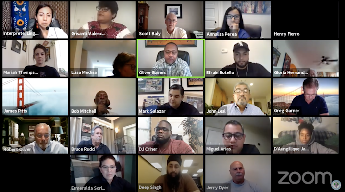 Screenshot of the virtual Fresno Police Reform Commission meeting in Fresno, California, in August 2020.