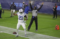 Indianapolis Colts running back Nyheim Hines celebrates after scoring a touchdown against the Tennessee Titans in the first half of an NFL football game Thursday, Nov. 12, 2020, in Nashville, Tenn. (AP Photo/Ben Margot)