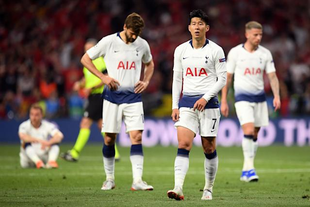 Heung-Min Son of Tottenham Hotspur looks dejected following the UEFA Champions League final (Photo by Matthias Hangst/Getty Images)