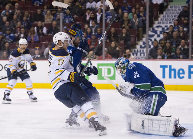 Vancouver Canucks defenseman Erik Gudbranson (44) tries to stop Buffalo Sabres center Vladimir Sobotka (17) from getting a shot on Canucks goaltender Thatcher Demko (35) during the first period of an NHL hockey game Friday, Jan. 18, 2019, in Vancouver, British Columbia. (Jonathan Hayward /The Canadian Press via AP)