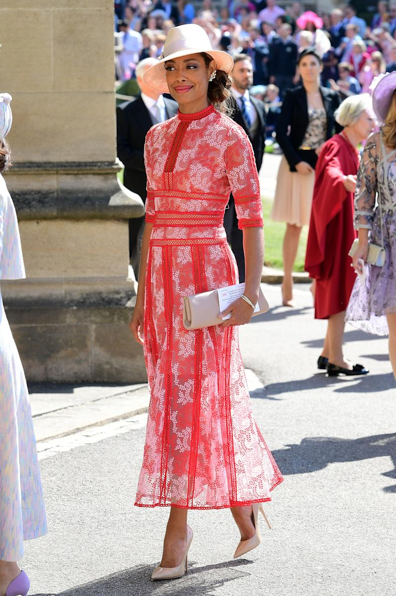 WHO: Gina Torres WHAT: Costarellos WHERE: At the royal wedding, Windsor, England WHEN: May 19, 2018