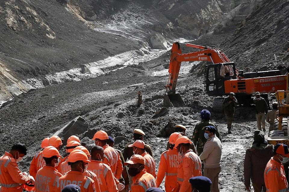 Rescue operations underway at Tapovan Tunnel, after a glacier broke off in Joshimath causing a massive flood in the Dhauli Ganga river, in Chamoli district of Uttarakhand on 9 February 2021. (Photo by Stringer/Anadolu Agency via Getty Images)