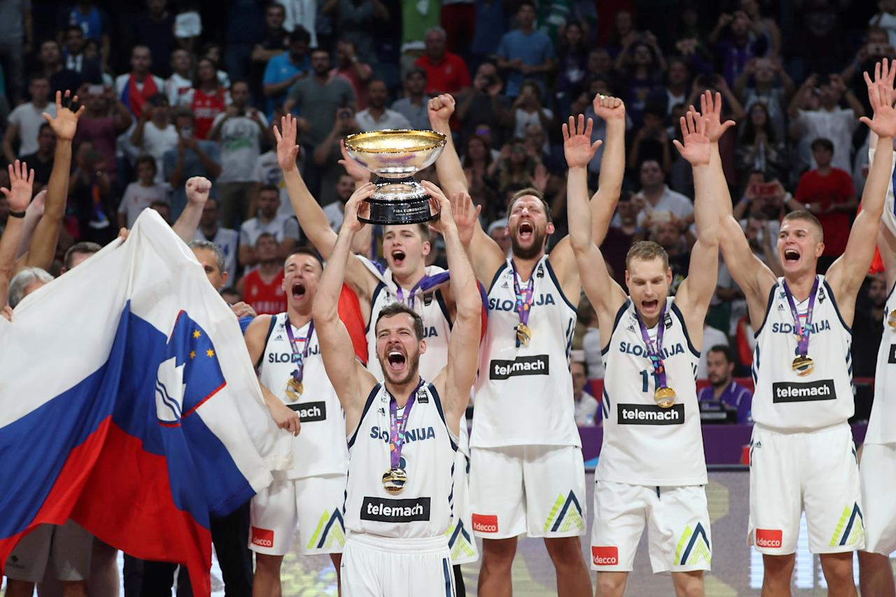 Basketball - Slovenia v Serbia - European Championships EuroBasket 2017 Final - Istanbul, Turkey - September 17, 2017 - Players of Slovenia celebrate their victory. REUTERS/Osman Orsal     TPX IMAGES OF THE DAY