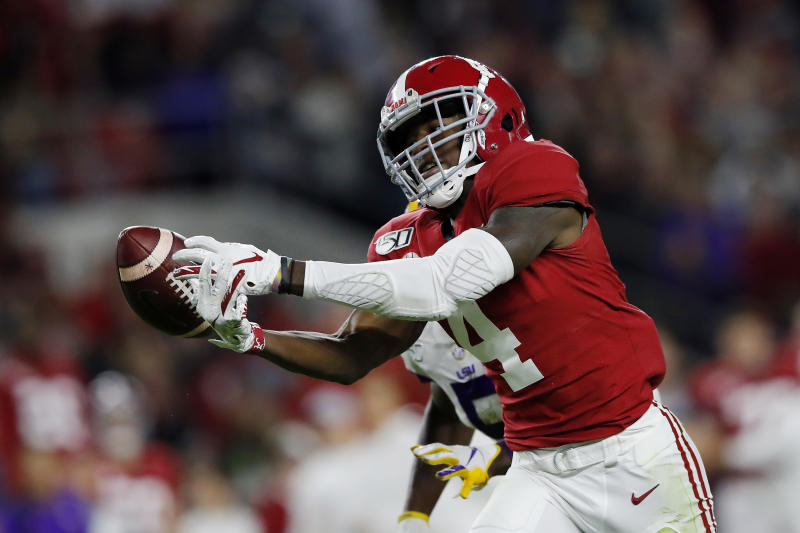 Alabama WR Jerry Jeudy uncharacteristically had three drops against LSU last week. (Photo by Kevin C. Cox/Getty Images)