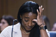 United States Olympic gymnast Simone Biles testifies during a Senate Judiciary hearing about the Inspector General's report on the FBI's handling of the Larry Nassar investigation on Capitol Hill, Wednesday, Sept. 15, 2021, in Washington. Nassar was charged in 2016 with federal child pornography offenses and sexual abuse charges in Michigan. He is now serving decades in prison after hundreds of girls and women said he sexually abused them under the guise of medical treatment when he worked for Michigan State and Indiana-based USA Gymnastics, which trains Olympians. (Graeme Jennings/Pool via AP)