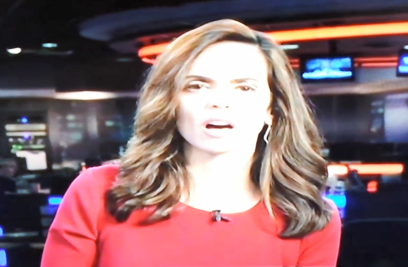 News anchor Stephania Jimenez couldn't believe it when her live broadcast was interrupted with sex noises. Photo: Facebook/Visiene Douangprachanh