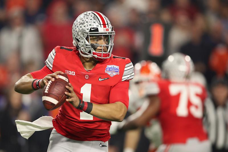 Could the Jets be in the market for a 2021 NFL draft QB such as Ohio State's Justin Fields? (Photo by Christian Petersen/Getty Images)