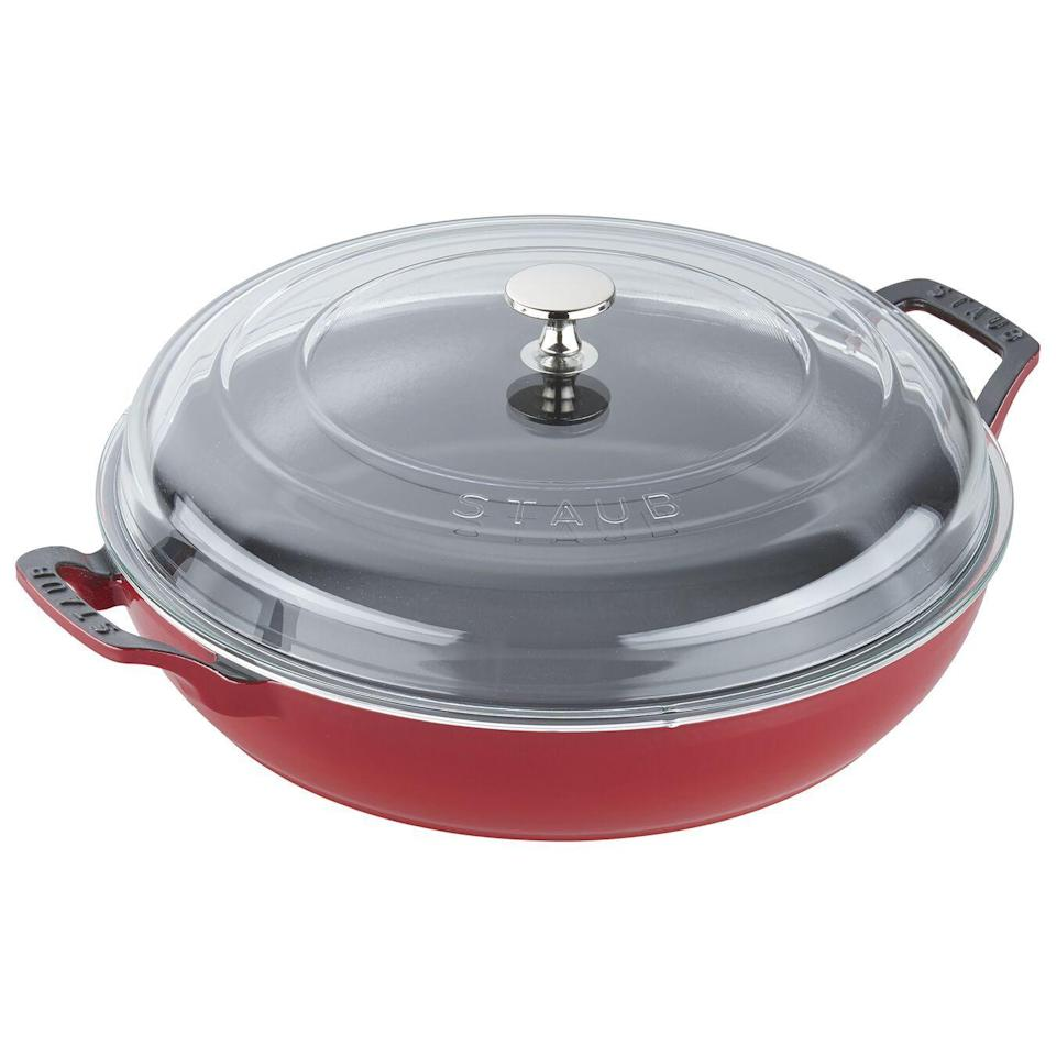 """<p><strong>Staub</strong></p><p>zwilling.com</p><p><a href=""""https://go.redirectingat.com?id=74968X1596630&url=https%3A%2F%2Fwww.zwilling.com%2Fus%2Fstaub-cast-iron-12-inch-saute-pan-with-glass-lid-cherry-14813006%2F40501-985-0.html%3Fcgid%3Dour-brands_staub&sref=https%3A%2F%2Fwww.housebeautiful.com%2Fshopping%2Fbest-stores%2Fg35266255%2Fstaub-cookware-sale%2F"""" rel=""""nofollow noopener"""" target=""""_blank"""" data-ylk=""""slk:BUY NOW"""" class=""""link rapid-noclick-resp"""">BUY NOW</a></p><p><strong>$149.99 <del>$357</del> (58% off)</strong></p>"""