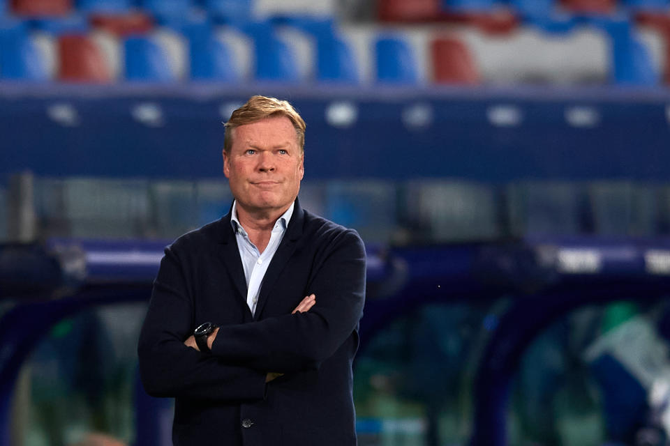 Ronald Koeman head coach of Barcelona during the La Liga Santander match between Levante UD and FC Barcelona at Ciutat de Valencia Stadium on May 11, 2021 in Valencia, Spain. Sporting stadiums around Spain remain under strict restrictions due to the Coronavirus Pandemic as Government social distancing laws prohibit fans inside venues resulting in games being played behind closed doors. (Photo by Jose Breton/Pics Action/NurPhoto via Getty Images)