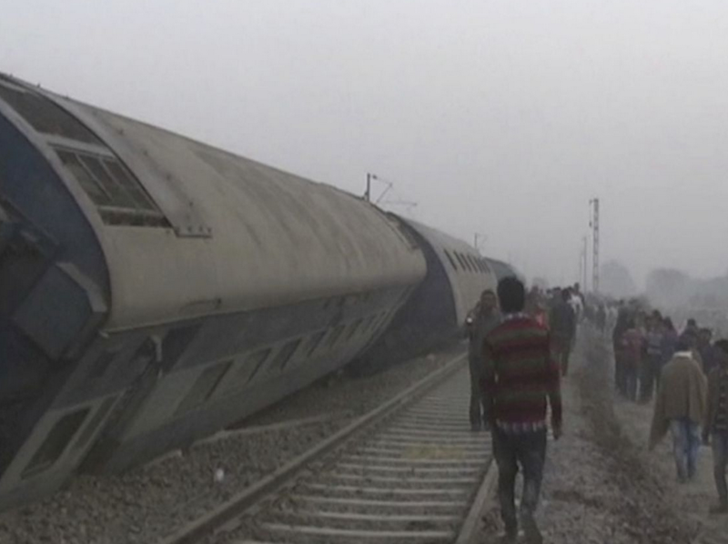 The derailment occurred near Pukhrayan. Photo: AP