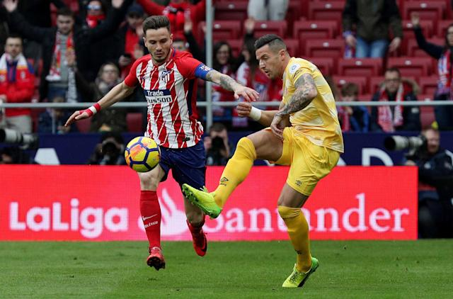 Soccer Football - La Liga Santander - Atletico Madrid vs Girona - Wanda Metropolitano, Madrid, Spain - January 20, 2018 in action with Atletico Madrid's Saul Niguez in action with Girona's Aday REUTERS/Sergio Perez