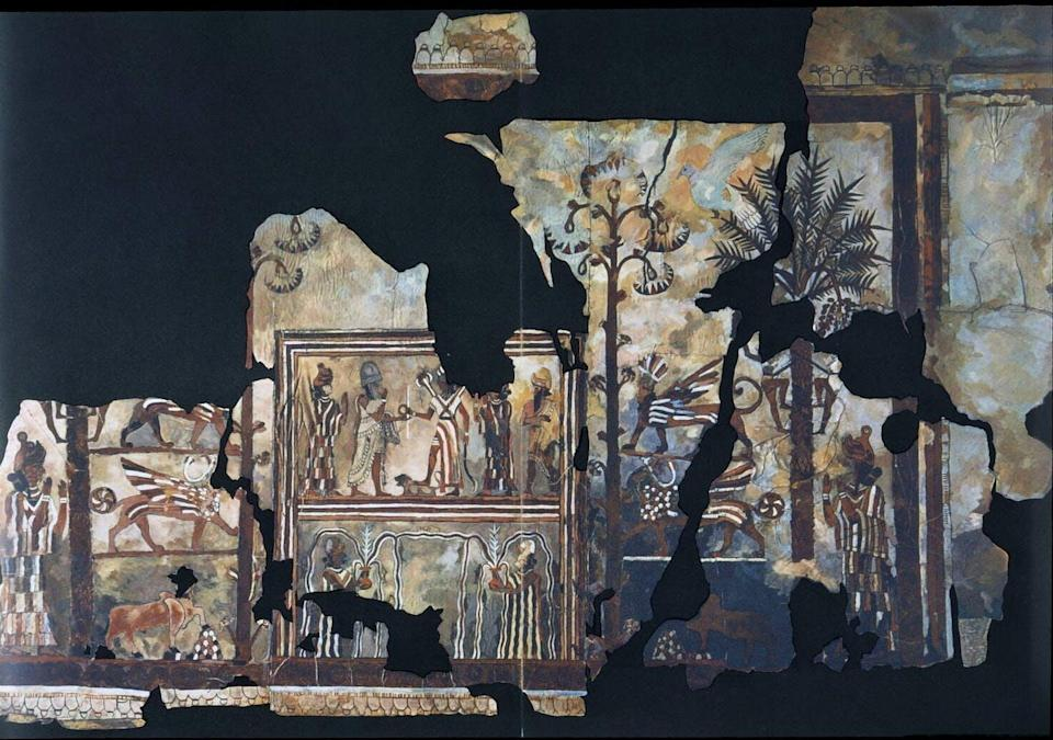 """<span class=""""caption"""">The Investiture of Zimri Lim Fresco from the palace of Mari gives us an image of royal ideology in the ancient Middle East.</span> <span class=""""attribution""""><span class=""""source"""">Louvre Museum</span>, <a class=""""link rapid-noclick-resp"""" href=""""http://creativecommons.org/licenses/by-sa/4.0/"""" rel=""""nofollow noopener"""" target=""""_blank"""" data-ylk=""""slk:CC BY-SA"""">CC BY-SA</a></span>"""