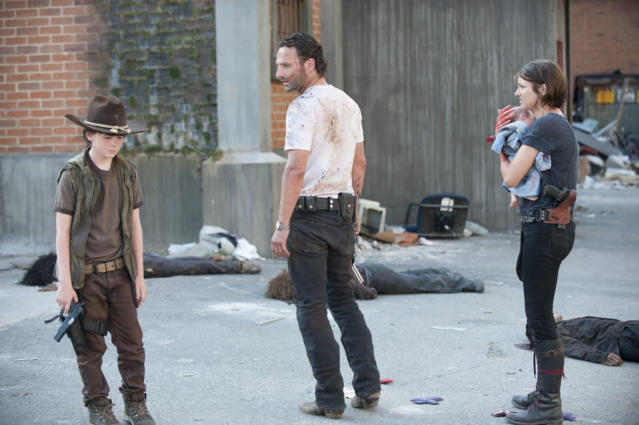 "Carl Grimes (Chandler Riggs), Rick Grimes (Andrew Lincoln) and Maggie Greene (Lauren Cohan) in ""The Walking Dead"" episode, ""Killer Within."""