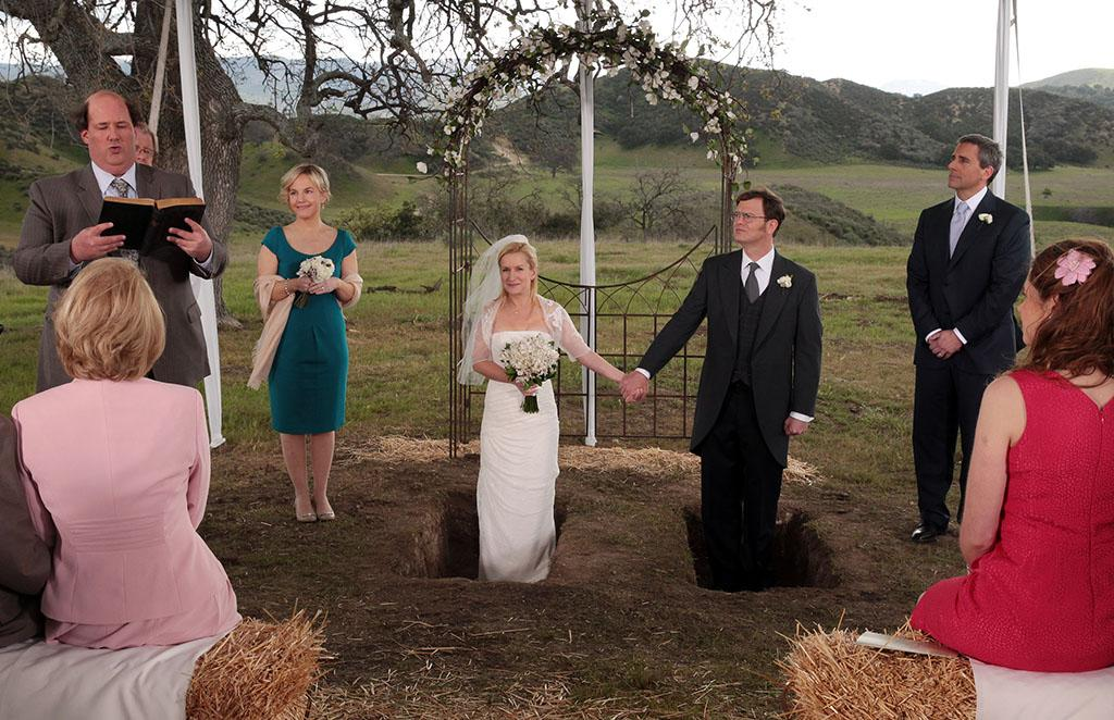 "The wedding of Angela Martin (Angela Kinsey) and Dwight Schrute (Rainn Wilson) on ""The Office"" (2013)."