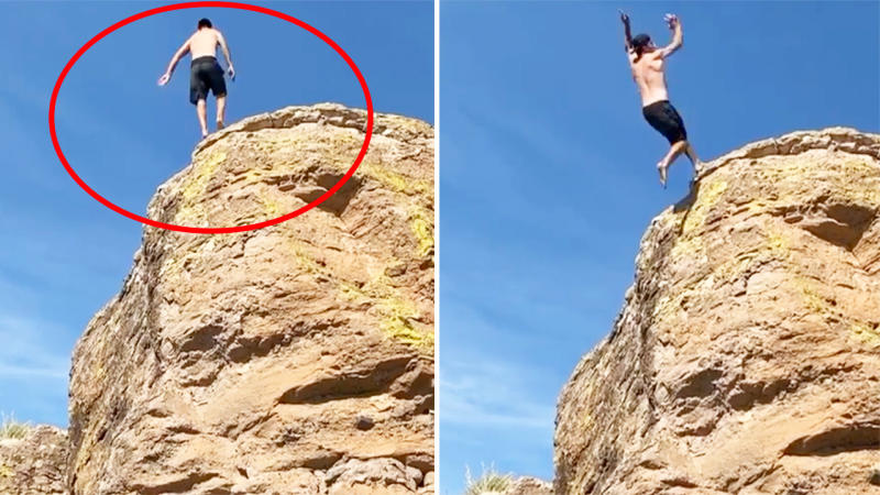 Johnny Manziel, pictured here after his cliff-diving stunt almost ended in disaster.