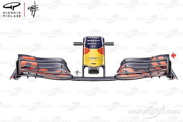 "Ala delantera del Red Bull RB15 en China <span class=""copyright"">Giorgio Piola</span>"