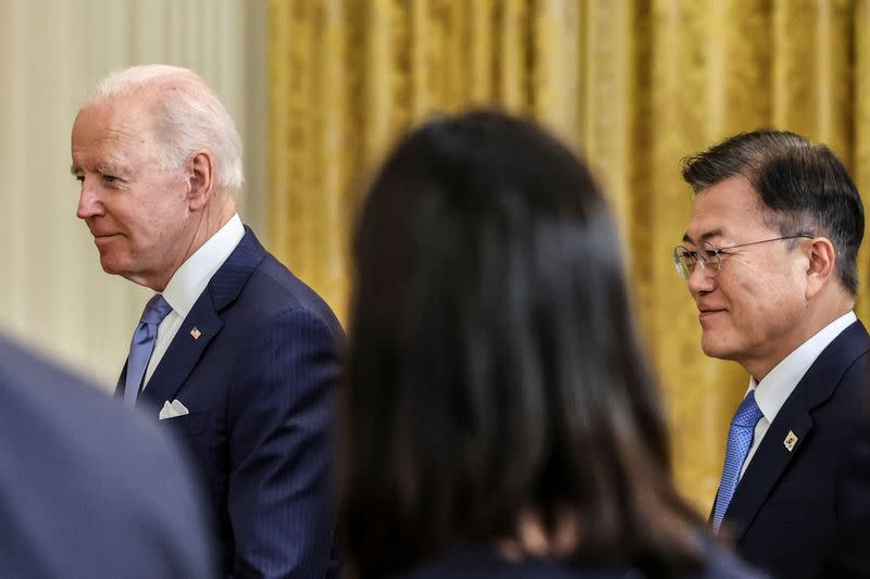 U.S. President Biden and South Korea's President Moon Jae-in hold a joint news conference, in Washington