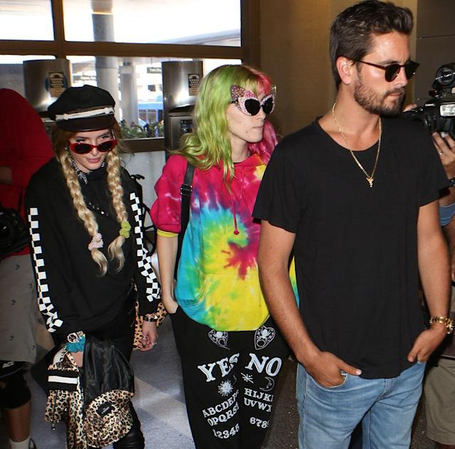 Bella Thorne, a friend, and Scott Disick arrive at LAX Airport on May 22. (Photo: London Entertainment /Splash News)