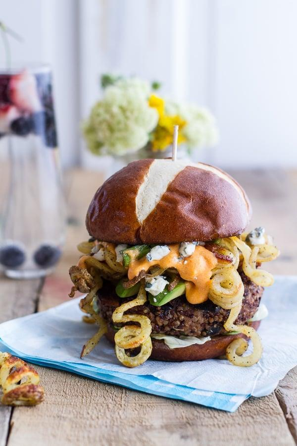 "<p>There's no doubt about it - adding curly fries to anything makes it so much better. Complete with cheese sauce and black bean patties, these burgers will cure your cravings.</p> <p><strong>Get the recipe</strong>: <a href=""http://www.halfbakedharvest.com/buffalo-blue-curly-cheese-fry-crispy-black-bean-burgers/"" class=""link rapid-noclick-resp"" rel=""nofollow noopener"" target=""_blank"" data-ylk=""slk:buffalo-blue cheese black bean burgers with curly fries"">buffalo-blue cheese black bean burgers with curly fries</a></p>"