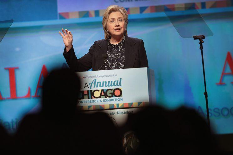 Former Secretary of State Hillary Clinton speaks to guests at the American Library Association's annual conference on June 27, 2017, in Chicago, Illinois.