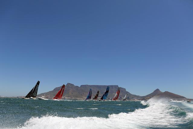 Sailing - Volvo Ocean Race - Third Leg - Cape Town, South Africa - December 10, 2017. Team AkzoNobel, team Turn the Tide on Plastic, team Dongfeng, team Mapfre, team Sun Hung Kai/Scallywag, team Vestas 11th Hour Racing and team Brunel sail. REUTERS/Sumaya Hisham