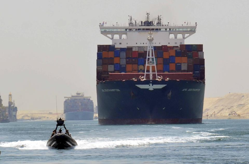 The Suez Canal, built in 1869, is an artificial sea-level waterway in Egypt, connecting the Mediterranean Sea to the Red Sea. Photo: Reuters
