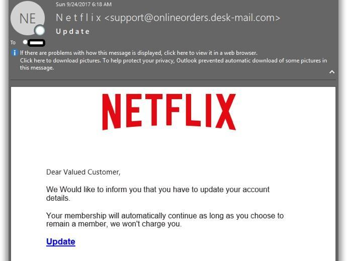 Netflix Phishing Campaign Steals Customers' Credit Card Details