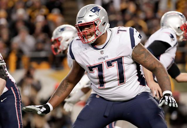Offensive lineman Trent Brown served as great insurance for the Patriots. The free agent was reportedly rewarded for his play with a record-setting deal with the Raiders. (AP)