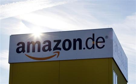 The sun reflects off Amazon's logistics centre in Graben