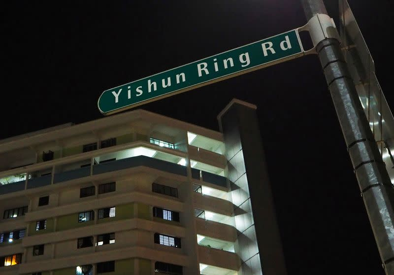 A block of public housing flats is pictured in Yishun, Singapore