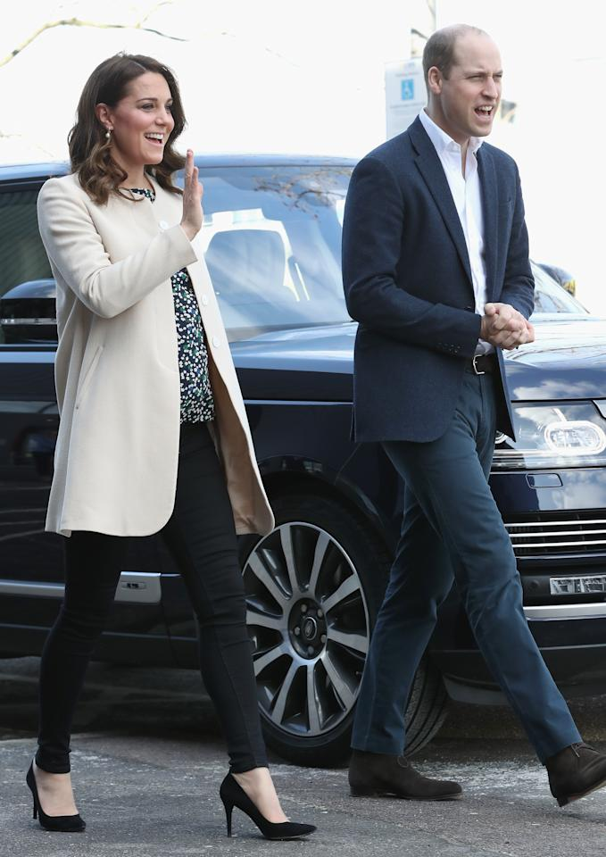 """<p>The Duke and Duchess of Cambridge attended a SportsAid <a rel=""""nofollow"""" href=""""https://uk.style.yahoo.com/duchess-cambridge-goes-casual-final-royal-engagement-140547414.html"""">event</a> at Olympic Park in Stratford on 22 March. The event marked the 36-year-old's final engagement before preparing to welcome baby number three. For the occasion, the royal donned skinny jeans and her go-to coat by Goat.<br />Oh, and if you're hoping to get your hands on her <a rel=""""nofollow"""" href=""""https://www.hobbs.co.uk/product/display?productID=0118-6958-9021L00&utm_source=linkshare&utm_medium=affiliate&utm_campaign=8%2Fbtisdd0hQ&utm_content=10&utm_term=UKNetwork&ranMID=38595&ranEAID=8%2Fbtisdd0hQ&ranSiteID=8_btisdd0hQ-8B3hmV740tHDIEd8xHlwIA&siteID=8_btisdd0hQ-8B3hmV740tHDIEd8xHlwIA&SID=3024823&PubName=Mail+Online&EL_COUNTRY=GB&EL_CURR=GBP&EL_LANG=EN"""">Hobbs</a> blouse, it's just landed in the sale… <em>[Photo: Getty]</em> </p>"""