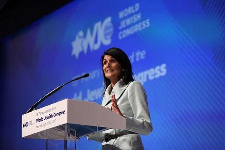 U.S. Ambassador to the United Nations Nikki Haley addresses the 15th Plenary Assembly of the World Jewish Congress in New York City