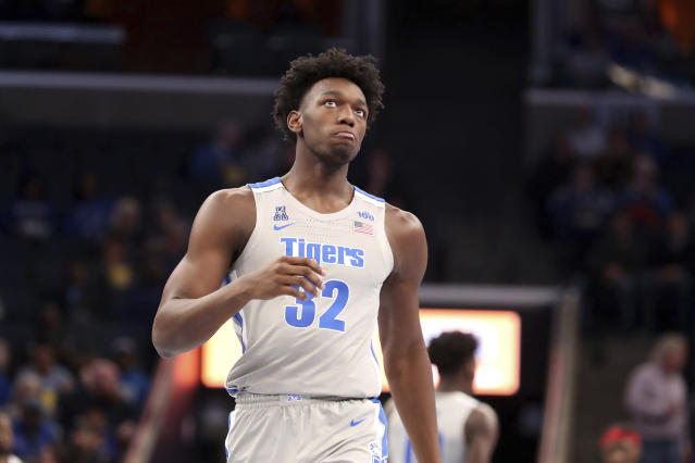Memphis' James Wiseman comes down court during the first half of an NCAA college basketball game against Illinois-Chicago Friday, Nov. 8, 2019, in Memphis, Tenn. (AP Photo/Karen Pulfer Focht)