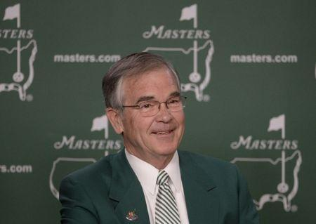 Apr 6, 2016; Augusta, GA, USA; Augusta National Golf Club chairman Billy Payne speaks at a press conference during a practice round prior to the 2016 The Masters golf tournament at Augusta National Golf Club. Mandatory Credit: Michael Madrid-USA TODAY Sports / Reuters