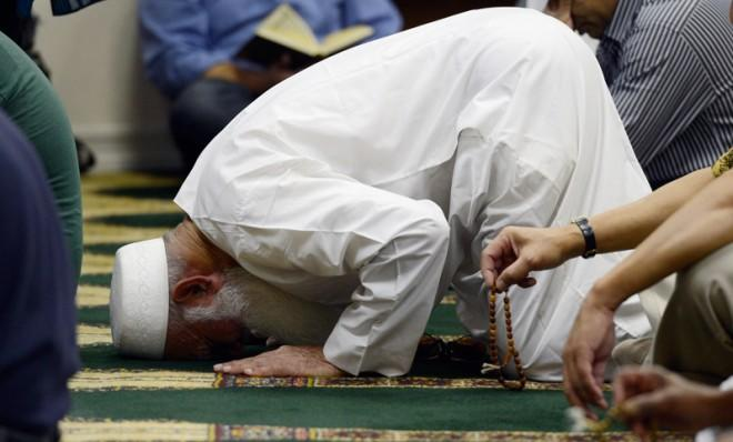Muslims attend Friday prayer services in southern California on September 14, 2012.