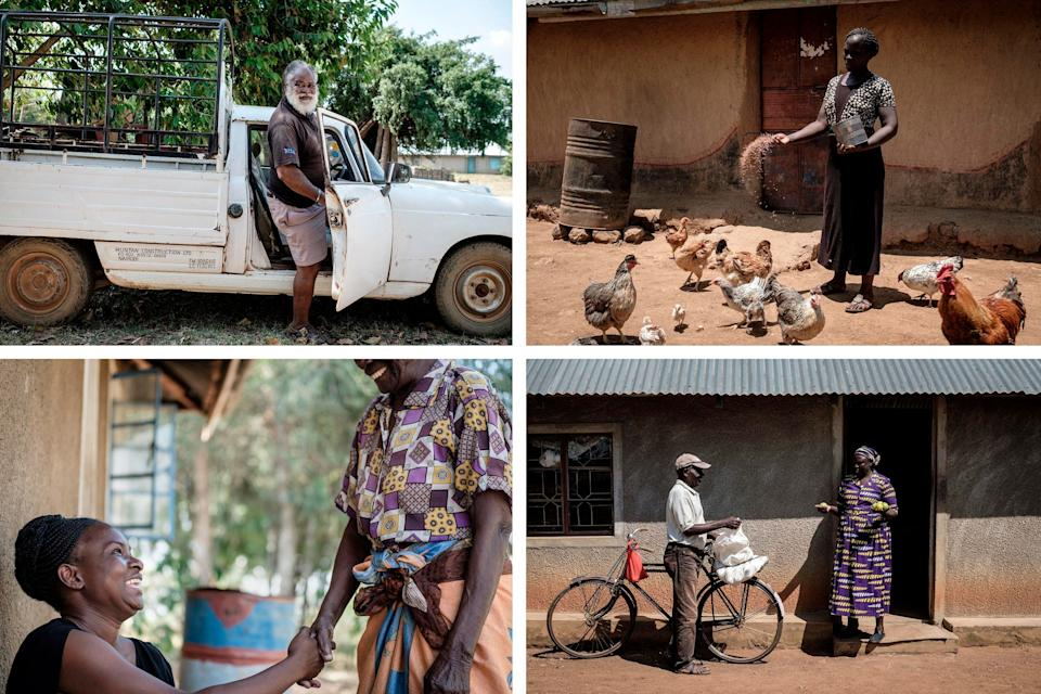 Top left: Samson, 72, gets 2,250 shillings a month ($21) as a recipient of the UBI program, which he uses for his fish farm in the Bondo region of western Kenya. Top right: Monica, 30, uses the basic income to support the poultry farm she runs with her husband. Bottom left: Caroline Teti, of the nonprofit GiveDirectly, shakes hands with a basic income recipient. Bottom right: Grace, who is 65 and retired, uses the money for treatment of her swollen leg and for buying food. Credit: Yasuyoshi Chiba/AFP/Getty Images (Photo: )
